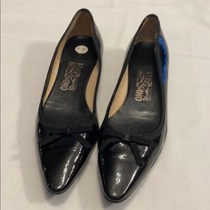 Ferragamo patent leather flats with bow